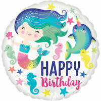 """Mermaid Seahorse Narwhal Happy Birthday Party Decorations Mylar Foil Balloon 18"""""""