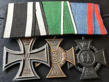 ✚7294✚ German WW1 mounted medal group Iron Cross Anhalt Friedrich Oldenburg FA