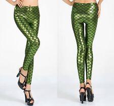 Ladies Hot Lime Green metallic fish scale mermaid leggings fancy Pants size 8-10