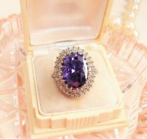4.00 CT Oval Cut Halo Cluster Amethyst Engagement Ring 14K Rose Gold Finish