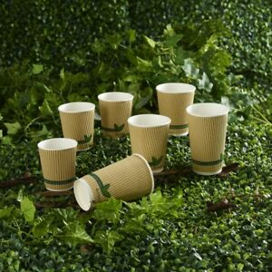 8oz 12oz 16oz Biodegradable Compostable Kraft Insulated Ripple Cups, Lids 25,500