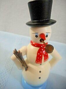 "ERZGEBIRGE GERMANY FOLK ART SNOWMAN PIPE SMOKER 5.5"" original box label bottom"