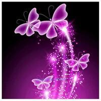 DIY 5D Diamond Embroidery Purple Butterfly Painting Cross Stitch Home Art Decor