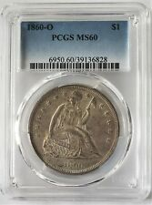 US 1860-O Silver Dollar MS60 Seated Liberty Hard to Find 900 Bullion Coin