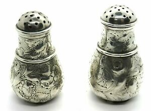 Pair Of Antique Silver Pepper Shakers By Whiting Manufacturing Co USA