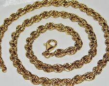 9CT GOLD & SILVER CHUNKY SOLID ROPE CHAIN 24 inch - Men's or Ladies - 32.5 grams
