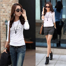 Women Casual Button V-neck T-shirt Blouse Ladies Long Sleeve Tops Tee Pullover