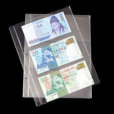 Album Pages 3 Pockets Money Bill Note Currency Holder PVC Collection 1 Sheet C&W