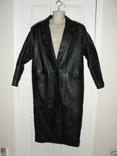 GIII TRENCH LEATHER COAT BLACK WOMENS MEDIUM FINE QUAILITY WILL FIT LARGE