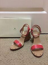 BNWB Kate Spade Red Crocodile Print Jette Ankle Wrap Wedge 6.5M/B Italian Made