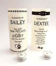 More details for personalised pet memorial tribute candle light lamp lantern shade & b/o t lite