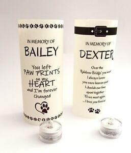 Personalised Pet Memorial Tribute Candle Light Lamp Lantern Shade & B/O T Lite