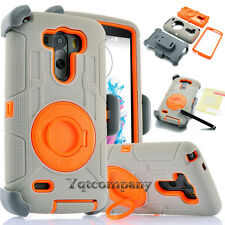 For LG G3 Case With Clip Holster Kickstand Rugged Hybrid Rubber Protective Hard