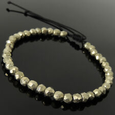Comfortable Braided Bracelet Natural Faceted Gold Pyrite Stone 5mm Beads 1618