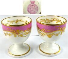 Par Antiguo Porcelana De Coalport Hueveras Rosa chispas Worcester reina Adelaida
