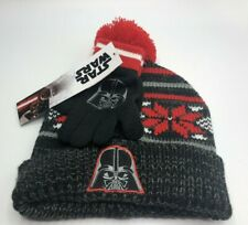 Boy's Star Wars Darth Vader Hat and Gloves Set Size 4+ Black & Red New
