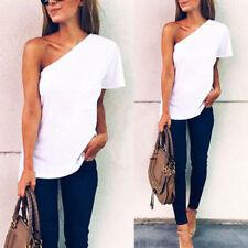 Women Summer Short Sleeve One Shoulder Blouse Cotton Casual Loose Tops T-Shirt