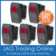 5 x 12V~24V SINGLE LED RED CARLING/ARB/NARVA-STYLE ROCKER SWITCH -Boat/4x4/Light