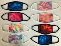 4 PCS 2 Options Tie Dye Reusable Washable Double Layer Cloth Face Mask Cover
