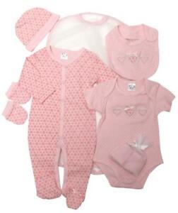 Baby Girl  Layette sleepsuit vest 7 piece set Pink Hearts 0-3months 3-6 months