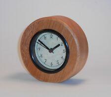Round Mahogany Natural Wooden Desk Clock Carved Hearts Wedding Anniversary Gift