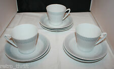 Upsala Ekeby Karlskrona 3 White Grey Coffee Tea Cups 7 Saucers Sweden