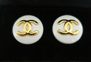 """Chanel Earings 19mm 3/4"""" White & Gold"""
