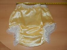"""ADULT BABY YELLOW SISSY SILKY PLASTIC PANTS WHITE FRILLS. SIZE M, 27""""-32"""" WAIST"""