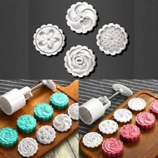 Mould Pastry 4 Stamps 50g Round Mold MoonCake Cutter Cookie Hand Pressing