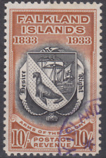 Falk;and Islands 1933 Centenary 10/- Black & Chestnut SG137 Cat £1500