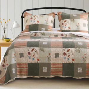 COZY PATCHWORK LOG CABIN FOLK LODGE BROWN RED PLAID WESTERN COUNTRY QUILT SET