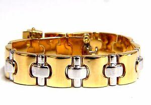 18kt. yellow gold wide caliber bracelet 90's Nostalgia 7 inch+