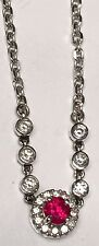 """14K WHITE GOLD DIAMONDS BY THE YARD NECKLACE WITH RUBY DIAMOND HALO DROP 17"""""""