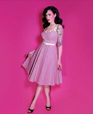 Dollface Dress in Hot Pink Stripes - Vixen 2XL NWT Pinup Rockabilly