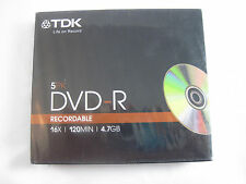 TDK Life on Record 5PK DVD-R in Slim Jewel Cases - New Old Stock -16x 4.7GB