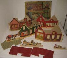 4 Early Milton Bradley Christmas Village Houses w/ Partial Box - Train Layout