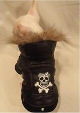 Skull Faux Fur Tough DOG COAT/DOG JACKET/DOG CLOTHES/chihuahua/XS,S,M,L