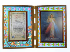 Stained glass double frame with prayer and Divine Mercy Jesus image 18cm