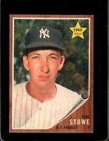 1962 TOPPS #291 HAL STOWE EXMT RC ROOKIE YANKEES  *X00724