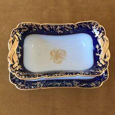 ANTIQUE HAVILAND & CO DEPOSE LIMOGES COBALT BLUE GOLD ENCRUST GRAVY SAUCE BOAT