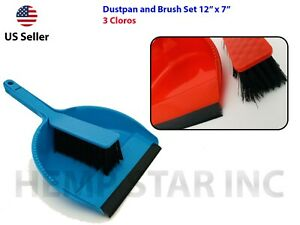 "Plastic Dustpan and Brush Set Cleaning Broom with Rubber Lip Dustpan 12"" x 7"""