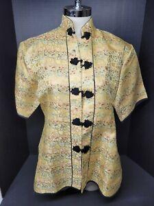 Vintage Chinese Gold 100% Silk Brocade Women's Jacket SZ L
