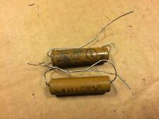 2 Nos Vintage Mallory 10 uf 25v Paper Capacitors 1940s Guitar Tube Amp Caps
