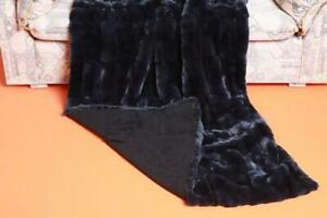 Dark grey rex rabbit fur blanket