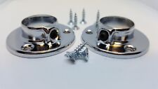 CHROMED WARDROBE RAIL end socket pair of round supports brackets rings size 25mm