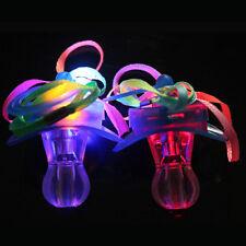 Light Up Pacifier LED Rave Party Glow Glowing Whistle Flashing Lanyard Blinking