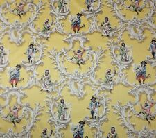 """WESTGATE PETITS SINGES YELLOW D3022 MUSICAL MONKEY VINE COTTON BY YARD 55""""W"""
