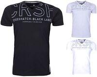 Mens T Shirt Crosshatch V Neck Cotton T-Shirt Short Sleeve Casual Top - New