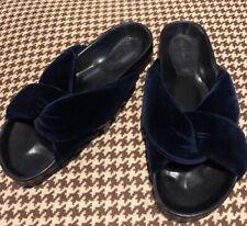Chloe Nolan Navy Blue Velvet Slides Size 37. New
