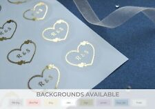 Foil Wedding Stickers personalised heart ? Rose Gold ? Gold ? Silver ? D3